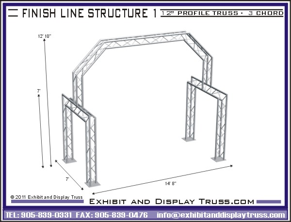 Aluminum truss finish line system for marathon or racing event